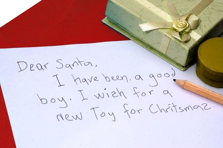 A dear santa letter written by a child for Christmas photo