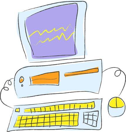 Cartoon Vector Illustration of a Desktop PC