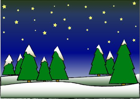 Vector illustration of a christmas night with snow and pine trees