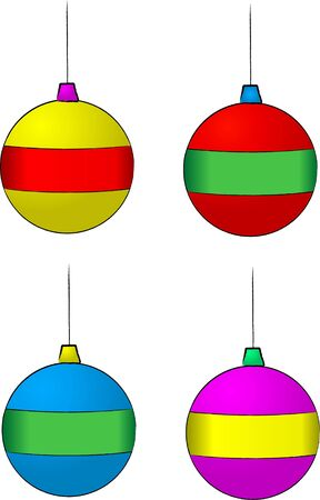 A set of vector illustrations of christmas decorations Stock Photo
