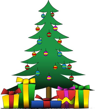 Vector illustration of a decorated christmas tree with presents under it Stock Photo