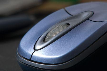 Closeup photo of a computer wireless mouse