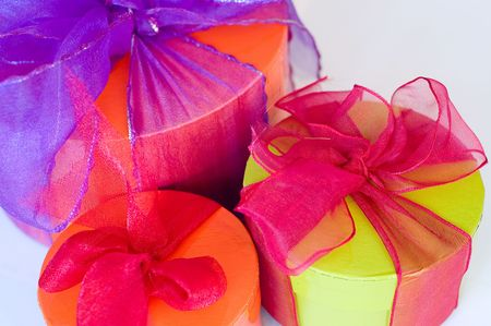 Present boxes wrapped with ribbon for christmas or seasonal gifts. See gallery for more photos. Stock Photo