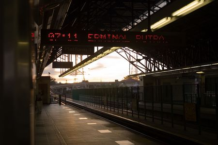 Train station in the morning dusk