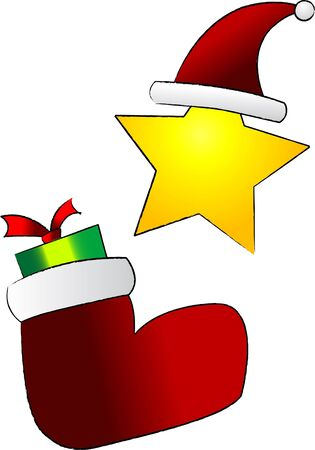 stoking: Cartoon vector drawing of Christmas ornaments and decoration