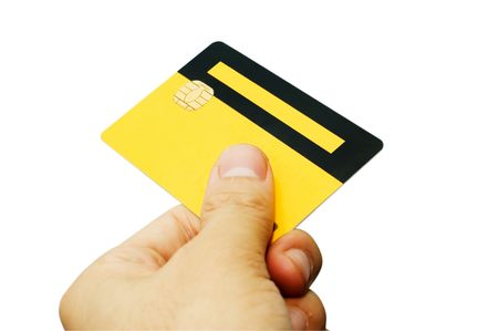 smart card: Hand holding an ATM smart card. Work path included. Stock Photo