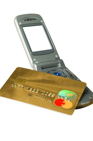 Mobile e-commerce concept with an credit card. Contains a blank screen & an invalid card number.