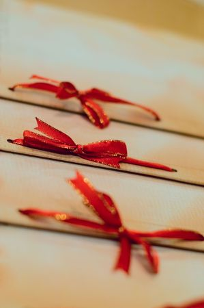 A row of ribbon tied into bows to hold pages of the menu