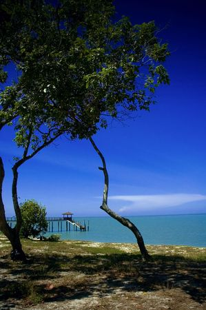 A nice and serene beach landscape at Kerachut Island, Penang Stock Photo