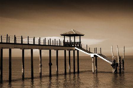 A monochromatic photo of the jetty at Kerachut Island, Penang photo
