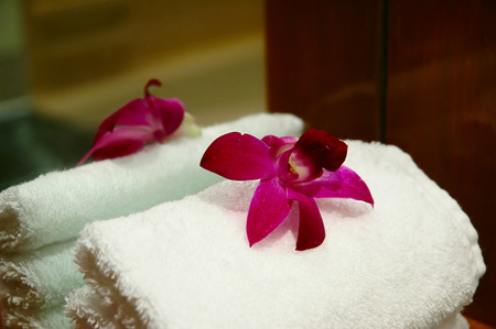 An orchid flower decorated on a towel in a luxury hotel room