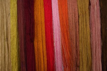 vibrance: Lines of colorful strands of silk strings