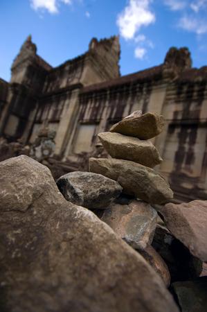 Stack of stones at the ruins of Angkor Wat Stock Photo