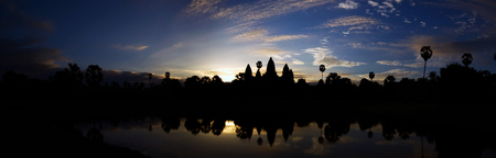 Panoramic view of the sunrise at Angkor Wat
