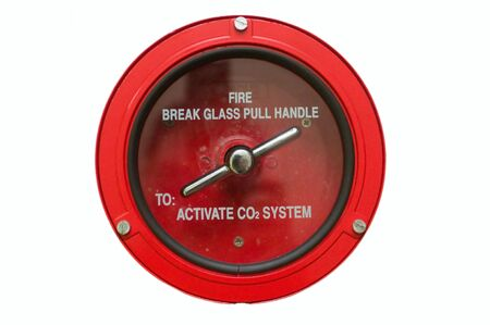 Round fire alarm switch. White isolated