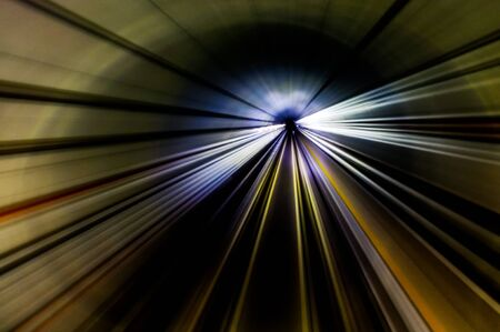 move ahead: Streak lines in the MRT underground tunnel Stock Photo