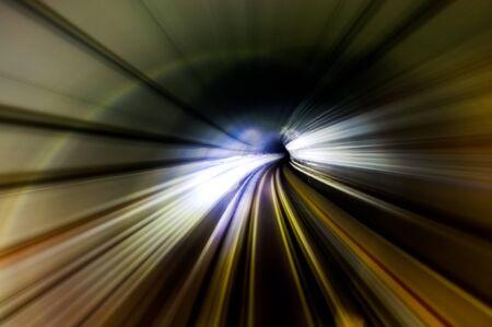 Streak lines in the MRT underground tunnel Stock Photo