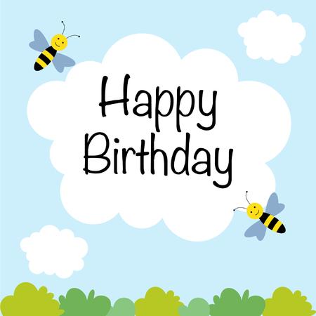 Cute Birthday card design Ilustracja