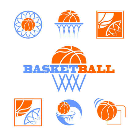 curve ball: set of vector symbols basketball