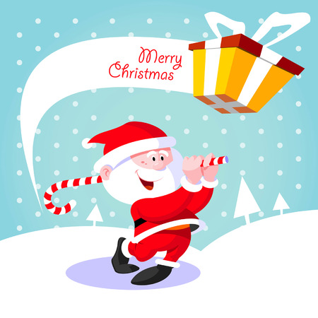cartoon santa: Happy Santa Claus  Creative Christmas card  Santa Claus golfer playing golf candy