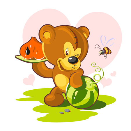 Card Valentines Day  teddy bear and a slice of watermelon in a heart shape  Vector