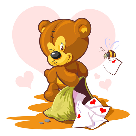 Card Valentines Day  teddy bear and a love letter  Vector