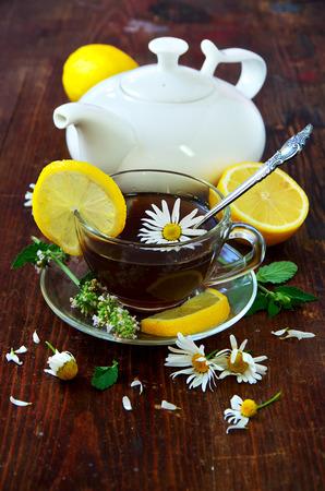 Healthy Breakfast. English tea with lemon. photo