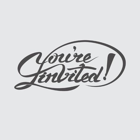 Youre invited lettering design vector illustration.