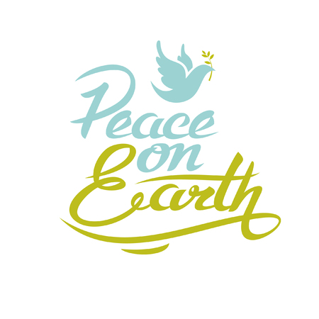 Peace on Earth. Vector lettering. The sign and symbol isolated on white background. 矢量图像
