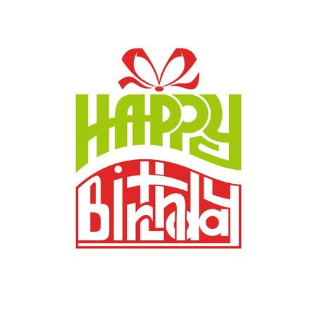 birthday gift box. Vector icon. Lettering Happy Birthday