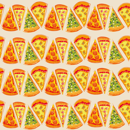 Pizza pies patternΠwith different ingridients, food pattern Vector