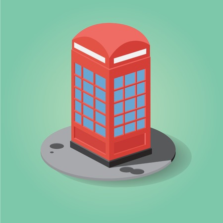 Red telephone box in stereometry with flat design Illustration