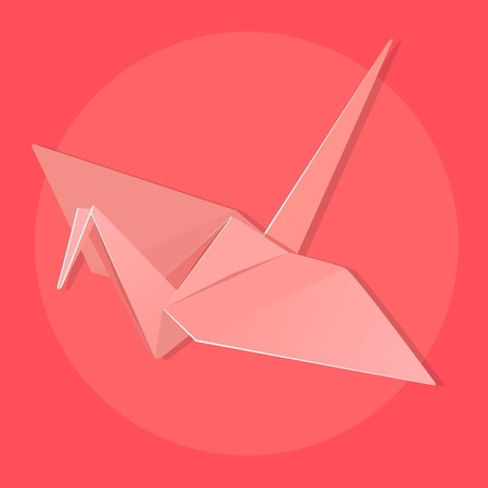 Vector Illustration of a Red paper origami crane  Vector