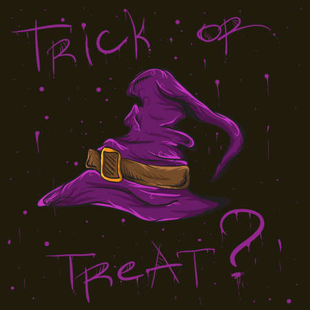 acute angle: halloween question with hand-drawn high-detailed illustration of Witch Hat Illustration