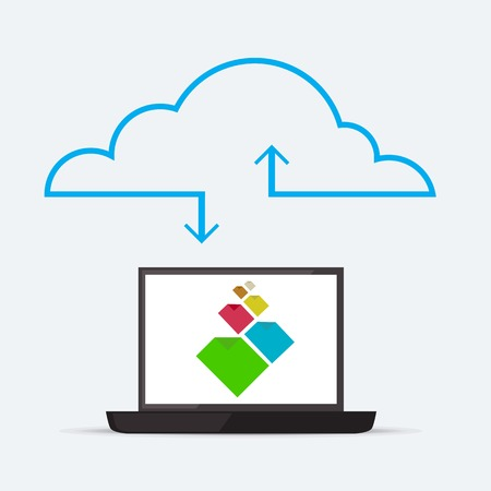 in sync: CLoud service for sync documents through internet Illustration