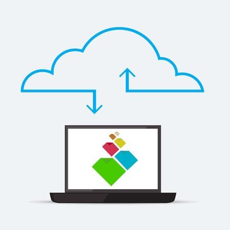 sync: CLoud service for sync documents through internet Illustration