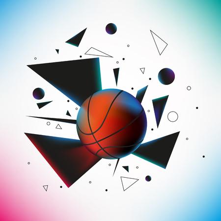 balle de basket-ball a frappé le sol avec explosion de différentes formes géométriques. Vextor illustration. EPS 10