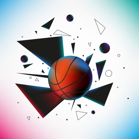 Basketball ball hit the ground with explosion of different geometric shapes. Vextor illustration. EPS 10