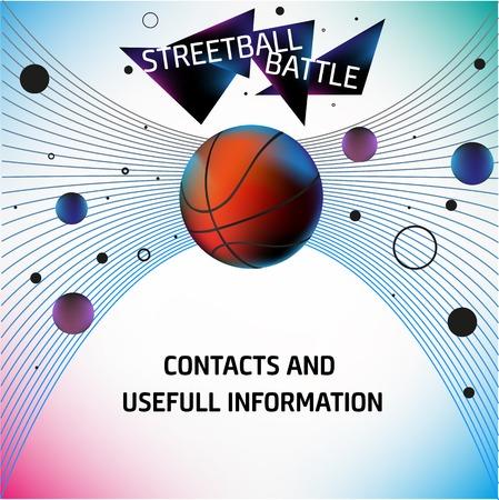 trajectoire: Basket-ball et de streetball flyers. R�aliste ilustration vectoriel avec une explosion de formes g�om�triques. EPS 10 Illustration