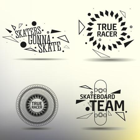 skateboard: Set of vector skateboarding emblems, labels and designed elements. EPS 10.