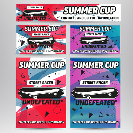 skateboard: Vector set with skateboard and longboard championship flyers, cards and banner
