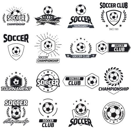 Voetbal label met voorbeeld tekst. Logo template vintage hipster stijl. Vintage badge voor voetbal kampioenschappen, toernooien, en golfclubs.