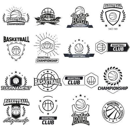 team sport: Streetball and basketball icon logo set with ball and basket in modern and vintage styles - stock vector