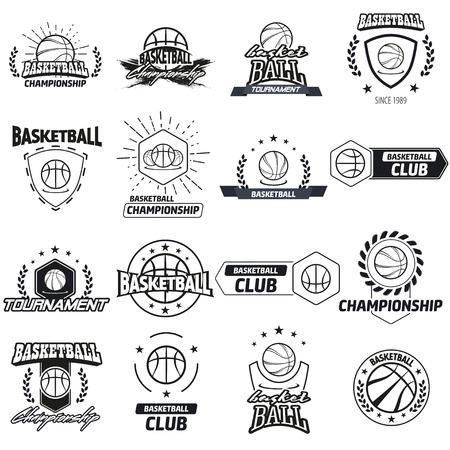 Streetball en basketbal pictogram logo set met bal en mand in de moderne en vintage stijlen - voorraad vector
