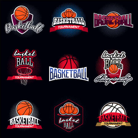 Basketball color tournament icon label in vintage style with half tone background