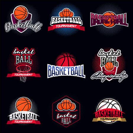 el color de baloncesto etiqueta de icono de torneo en el estilo de la vendimia con la mitad de fondo de tono Ilustración de vector