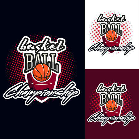 half tone: Basketball colour tournament icon label in vintage style with half tone background