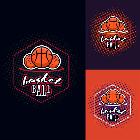 half tone: Basketball colour tournament label in vintage style with half tone background Illustration