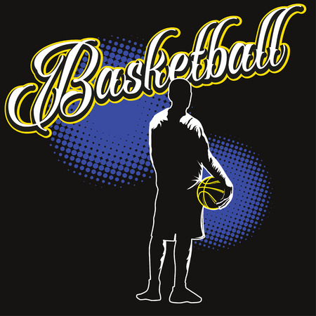 sihouette: Basketball color label with sihouette of player with contour light on edges. View from back, full height, standing shadow figure. Stock Photo