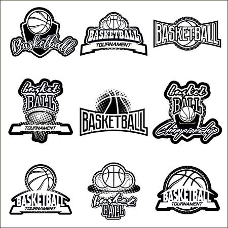 Streetball et le basket-ball icône logo réglé avec le ballon et le panier dans des styles modernes et vintage - Banque Logo